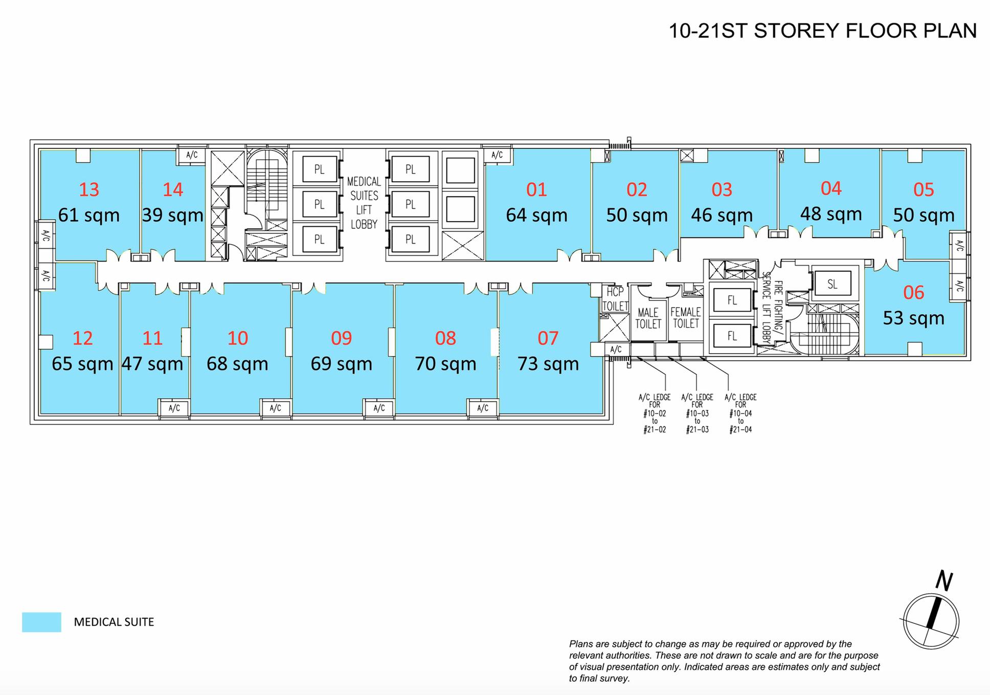 10th - 22nd Storey Floor Plan