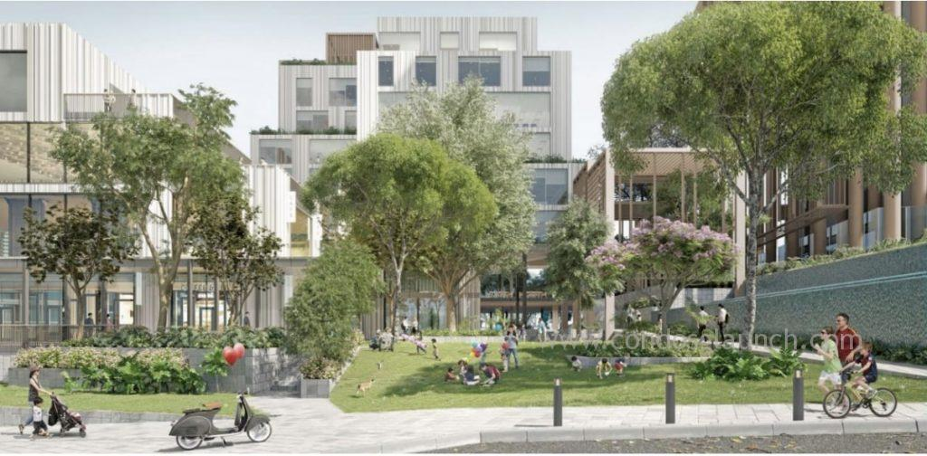 The Pocket Park faces the existing Holland Village and provides green relaxation spaces for residents and visitors